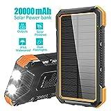 BLAVOR Solar Powerbank Handy 20000mAh, 15W Solar Ladegerät Externer Akku mit 4 USB/Typ C Ausgängen...