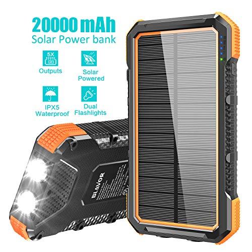 BLAVOR Solar Powerbank 20000mAh, Solar Ladegerät 15W Externer Akku mit 4 USB/Typ C Ausgängen & Duale LED Lampe, Tragbares Outdoor Power Bank Solarpanel Kompatibel für iPhone, iPad, Samsung, Huawei