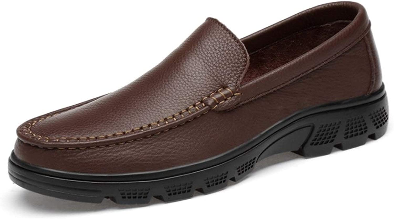 Mens loafers Flats Black Brown Slip-on Loafers shoes For Men Genuine Leather Comfortable Breathable Classic Business Casual Dress Wedding Fashion Loafers Anti-slip Flat Round Toe Slip-on