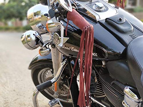 Trip Machine Company Leather Motorcycle Tassels Fringes Cherry Red for Harley Davidson, Indian Motorcycles