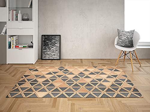 Oedim Alfombra Triángulos Imitación Madera para Habitaciones PVC   95 x 133 cm   Moqueta PVC   Suelo vinílico   Decoración del Hogar   Suelo Sintasol   Suelo de Protección  
