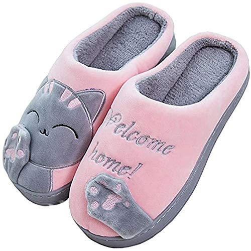 JACKSHIBO Herren Hausschuhe, Warme Plüsch Hausschuhe Indoor rutschfeste Slippers Cartoon Cat Pantoffeln Für Damen, Rosa, 40/41 EU