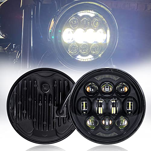 """SUP-LIGHT 5 3/4"""" 5.75 Inch LED Motorcycle Headlight for Harley Davidson Dyna Street Softail Touring Cvo Trike Sportster Iron 883 Headlights with High/Low/DRL Headlamp - Black"""