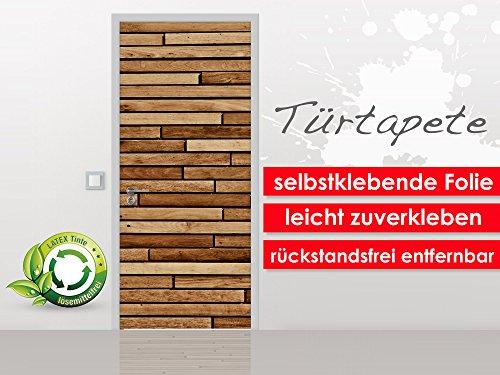 Deurbehang Wood Panel in het formaat 90 x 210 cm - zelfklevende premium folie - gemakkelijk te plakken zonder luchtbellen van trendy muren