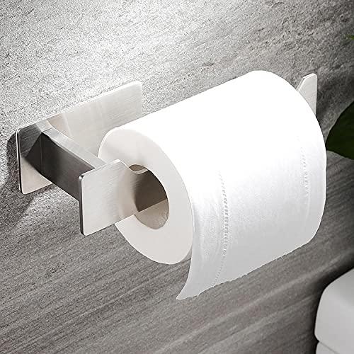 RUICER Portarrollos de papel higiénico, sin agujeros, de acero inoxidable, autoadhesivo, para cuarto de baño