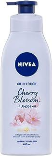 NIVEA Body Oil in Lotion Cherry Blossom & Jojoba Oil. Scented Moisturiser for Normal to Dry Skin, 400ml