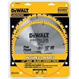 DEWALT 12-Inch Miter Saw Blade, Crosscutting, Tungsten Carbide, 80-Tooth, 2-Pack...