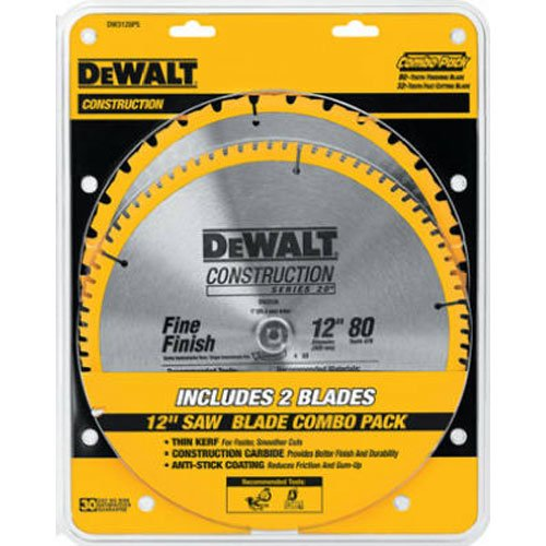 2-Pack  DEWALT DW3128 Series 20 12-Inch 80 Tooth Miter Saw Blade for 39.98