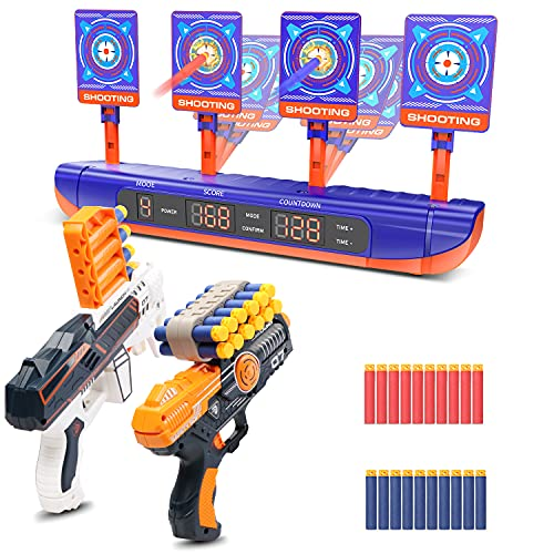 Toy Guns,Shooting Game Toys for 4-5 6-12 Year Old Boys,Digital Shooting Targets Fit for Nerf Gun,Auto Reset Electronic Scoring Target,Christmas Birthday Gifts for Age 6 7 8 9 10 11 12+ Boy Girl Kids