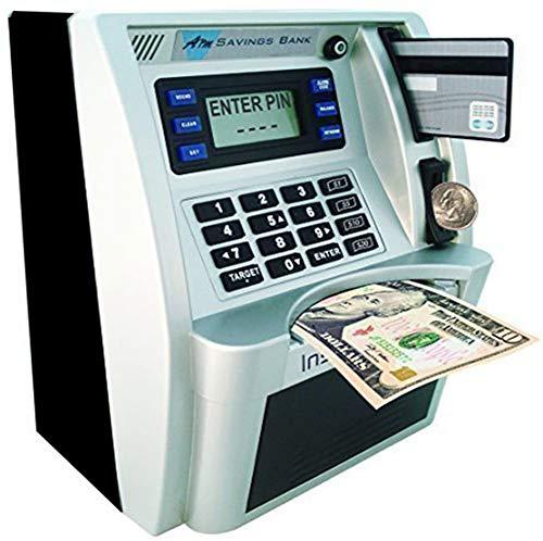 LB ATM Savings Bank for Kids Cash Coins Personal ATM Piggy Bank Money Savings Machine Birthday Gift Toy, Black Sliver