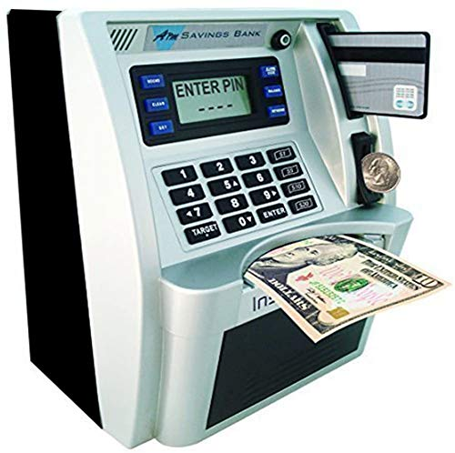 LB ATM Savings Bank for Kids Cash Coins Personal ATM Piggy Bank Money Savings Machine Birthday Gift Toy, Black Sliver