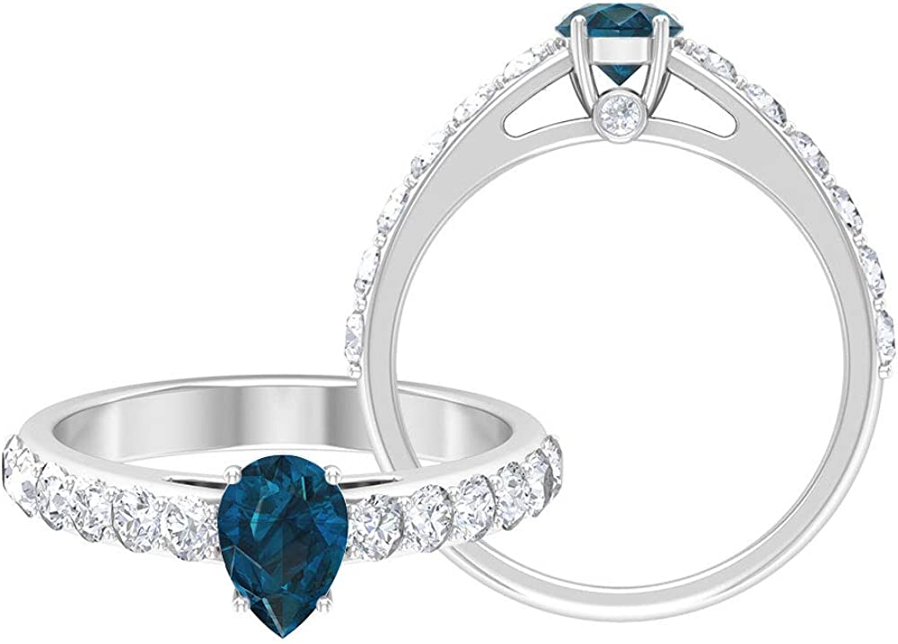 1.75 CT London Blue Topaz and Moissanite Ring, Solitaire Ring with Side Stones, Gold Engagement Ring (5X7 MM Pear Cut London Blue Topaz), 14K Gold