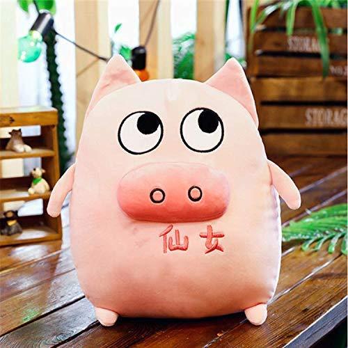 Peluche de juguete Expresión linda del cerdo rellena juega muñeca SoftEd materia animal de la historieta Almohada bebé que duerme a las muñecas del regalo La decoración del hogar los 40Cm rosa Detazhi
