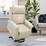 Esright Electric Power Lift Recliner Chair, Faux Leather Electric Recliner for Elderly with Heated Vibration Massage, Side Pocket & Remote Control, Cream White