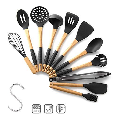 olyee 11 Stks Keukengerei Sets met haken, Anti-slip Siliconen Kookgerei Sets, Nonstick Spatel Turner Kookgereedschap - Siliconen & Houten Handvat