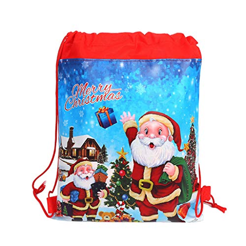 WT-DDJJK Shoulder Tote, Merry Christmas/Santa Claus Theme Drawstring Gifts Bags Cinch Kids Favors Baby Backpack Happy Birthday Party 2020