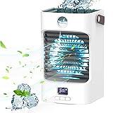 Mobile klimageräte Air Cooler, 4 in 1 Air Conditioner mit 120° Drehfunktion, Tragbare Luftbefeuchter und Luftreiniger mit wassertank und 3 Lüfterstufen 7 LED-Leuchten, Anzeigetemperatur (Weiß)