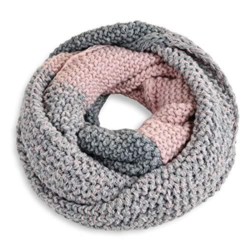 Neverless® Damen Loopschal Strickschal Schlauchschal Winterschal Grobstrick zweifarbig grau-rosa