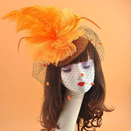 Accesorios para el cabello La cara de la novia es un tocado de plumas de avestruz exagerado escenario blanco rendimiento hilo de red cabeza velo de flores adorno para el cabello horquilla-naranja