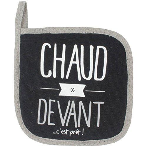 Promobo - Manique De Cuisine Cuisson Imprimée Coton Chaud Devant Noir