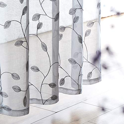 Fragrantex Botanical Embroidery Grey Sheer Curtains for Bedroom 84 inches Length 2 Panels See Through Window Drapes with Floral Leaf Pattern for Living Room/Bedroom Rod Pocket 1 Pair,W38xL84