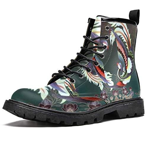 Botas de invierno con estampado de pájaros bailando en el viento para mujeres y niñas, botas de nieve cálidas con cordones para la escuela, color Multicolor, talla 38.5 EU