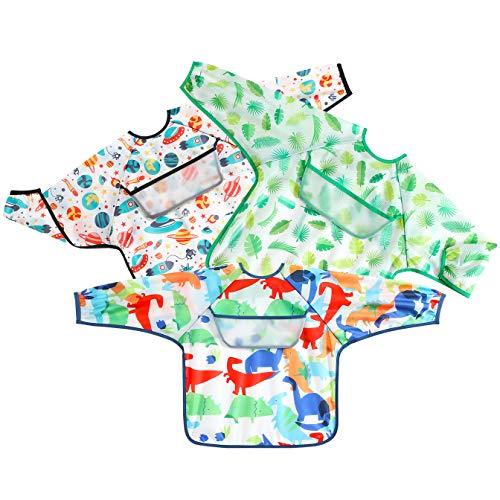 PandaEar Open Pocket Long Sleeve Bib 3-Pack Waterproof Crumb Catcher Apron