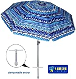 AMMSUN 7 ft Sand Anchor Beach Umbrella Adjustable Height with Tilt Aluminum Pole, Portable UV 50+ Protection Beach Umbrella for Outdoor Patio