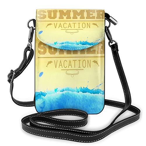 Generic Summer Vacation Poster Kleine Umhängetaschen Crossbody Handy Portemonnaie – Frauen PU Leder Handtasche mit verstellbarem Riemen für das tägliche Leben