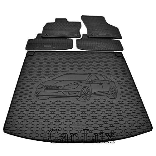 Car Lux DUO05662 - Kit Conjunto Alfombra Protector Maletero y Alfombrillas de Goma a Medida para Leon ST 5F Desde 2013-