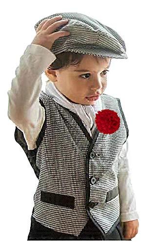 Gojoy Shop - Disfraz de chulapo madrileño para niño, contiene: camiseta, chaleco, pantalon, parpusa, pañuelo y clavel. (7 tallas diferentes.) (3-4 AÑOS)
