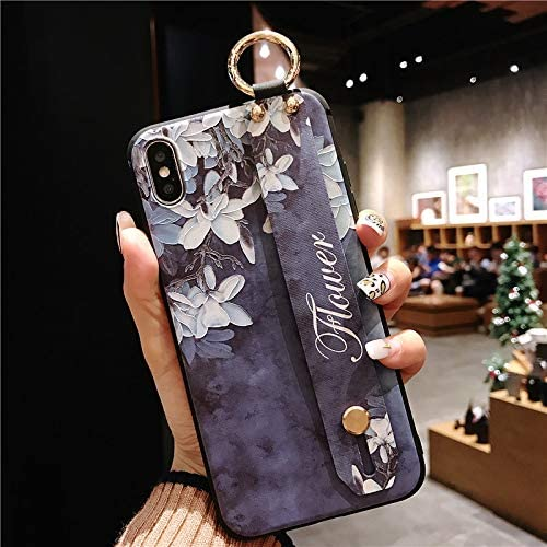 NiceGuu Flower Leaf Wrist Strap Phone Holder Cases for iPhone 11 Pro Max Case for iPhone 7 8 7 Plus 8 Plus X XS Max XR Soft TPU Back Cover (Purple, for iPhone 11 Pro Max)