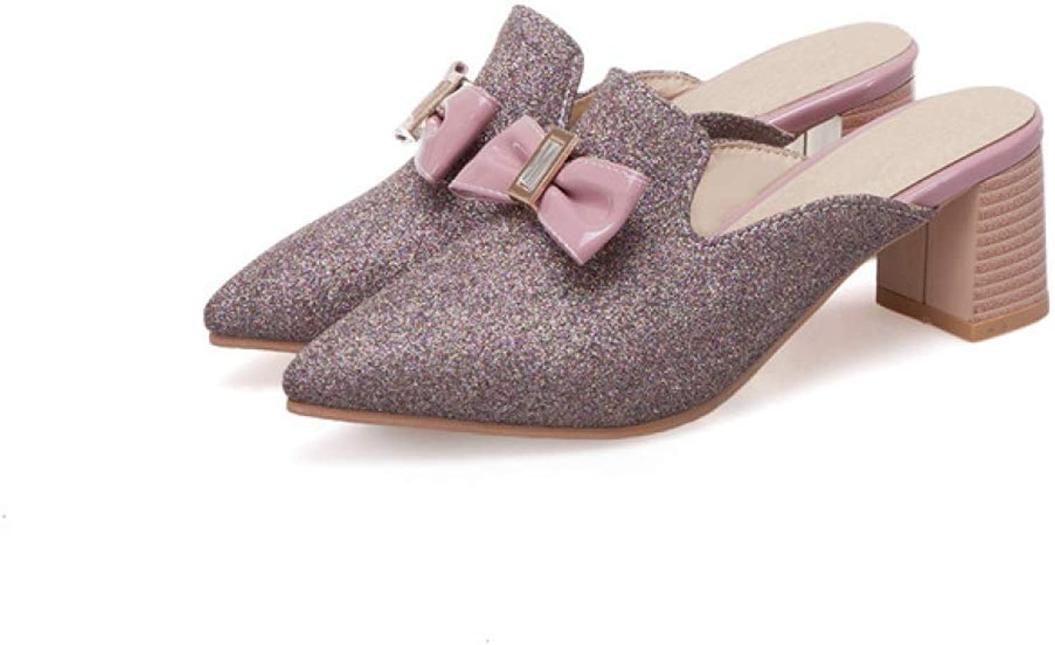 T-JULY Women Pumps Square High Heel shoes Glitter Pointed Toe Mules Ladies Bow Slippers for Spring