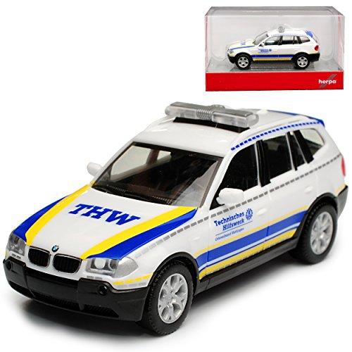 B-M-W X3 E83 THW Technisches Hilfswerk Hattingen 1. Generation 2003-2010 H0 1/87 Herpa Modell Auto mit individiuellem Wunschkennzeichen