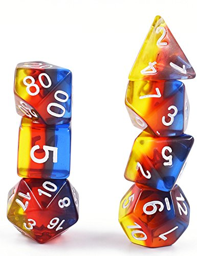 Polyhedral DND Dice Sets D&D Dice for Dungeons & Dragons Pathfinder Table Gaming Dice Collections with Bags (Burning Cloud Dice)
