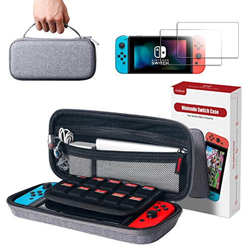 moleve Nintendo Switch Case with 2 Screen Protectors,Portable Carrying Case for Nintendo Switch,Travel Carry Case with 10 Game Card Holders for Switch,Switch Accessories
