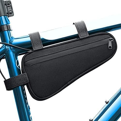 Bolsa de cuadro de bicicleta triangular impermeable espaciosa bolsa de almacenamiento de cuadro de bicicleta 1.2L | Bolsa de medio marco para debajo del tubo superior Bolsa para paquete de bicicletas