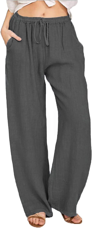 NRTHYE Women Wide Leg Pants Casual Capri Pants Loose Drawstring Trousers with Pockets Plus Size