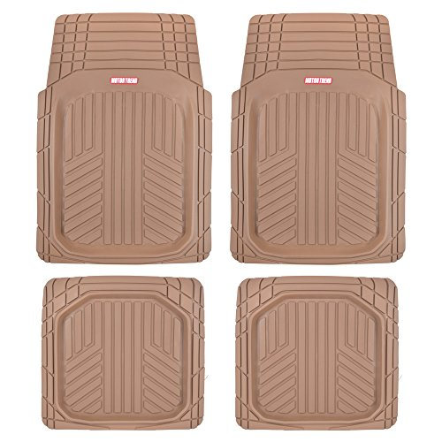 Motor Trend MT-934-BG Beige Deep Dish Rubber Floor Mats, Front & Rear for Car Truck & SUV, Thick Heavy Duty Performance, Custom Trimmable, Odorless All Weather Set