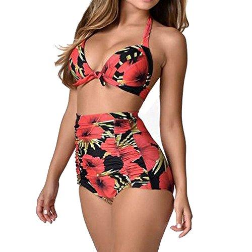 Traje de baño sexy de dos piezas para mujer, bikini de cintura alta, hombros descubiertos, volantes, talla grande, control del vientre, traje de baño retro plisado, diseño floral estampado de tiras