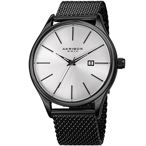 Akribos XXIV Black and Silver Designer Men's Watch – Classic and Casual Round Stainless Steel Mesh Fashion Bracelet Wristwatch – AK959BK