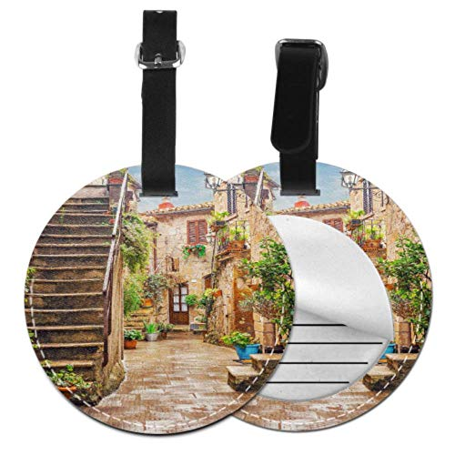 IdTagTravel Alley in Old Town Pitigliano Tuscany Italy LuggageAddressTags FunnyLuggageTagsforWomen with Adjustable Black Strap for Bags & Baggage with Privacy Protection for Women Men