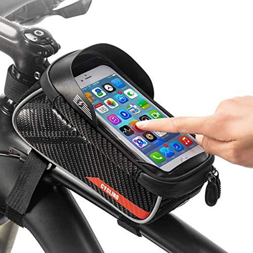 SOONHUA Borse per Manubrio da Ciclismo Borsa per Bici Telaio Anteriore Supporto per Telefono Custodia per Bici di Grande capacità con Custodia Touchscreen Impermeabile per Telefoni da 6 Pollici