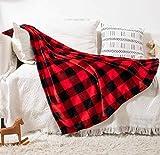 Fomoom Buffalo Plaid Blanket, Buffalo Blanket for Couch Bed Sofa Chair, Soft Cozy Fleece Red Black Check Pattern Decorative Blanket, Lightweight Fuzzy Buffalo Throw Blanket, 51x63 Inch