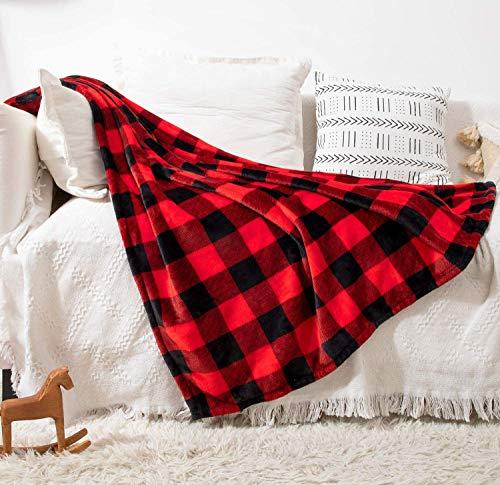 Fomoom Buffalo Manta de franela para sofá o cama, diseño de cuadros, forro polar, color rojo y negro, mullida, esponjosa, suave, cómoda, manta cálida