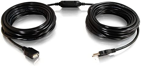 C2G 38988 USB Active Extension Cable - USB 2.0 A Male to A Female Cable, Center Booster Format, Black (25 Feet, 7.62 Meters)