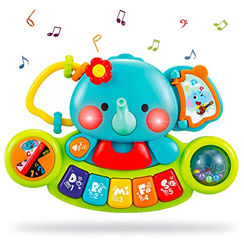 Baby Musical Toy 6+ Months - Toddler Piano Keyboard Toys Educational Learning Toy Music Activity Center Flashing Lights & Sounds Elephant Musical Toys for 6 Months + Baby Girls Boys Infants Kids