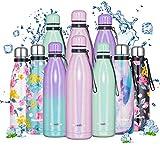 Newdora Botella de Agua Deportiva de Acero Inoxidable, Botella Termica con Doble Aislamiento para 12 Horas de Bebida Caliente y 24 Horas de Bebida Fría, Botella, 500ML,750ML (Degradado Rosa, 500ML)