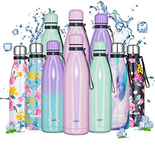 Newdora Trinkflasche Edelstahl, Wasserflasche 24h Kühlen & 12h Warmhalten, Auslaufsicher Thermosflasche für Kinder, Schule, Sport, Outdoor, Fahrrad, Fitness, Camping, BPA-Frei Isolierflasche