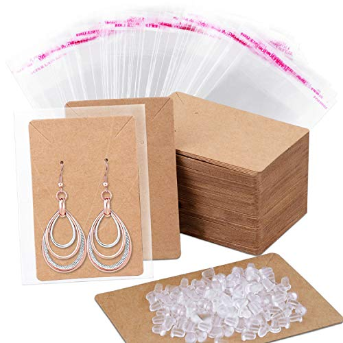 Earring Cards, Anezus 100 Pcs Earring Display Cards Earring Holder Cards with 200 Earring Backs and 100 Self- Sealing Bags for Earrings Necklace Jewelry Display, Kraft Color 3.5x2.4 Inches